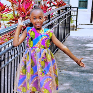 Kaylin African Print Girl's Dress With Tulle - Zabba Designs African Clothing Store