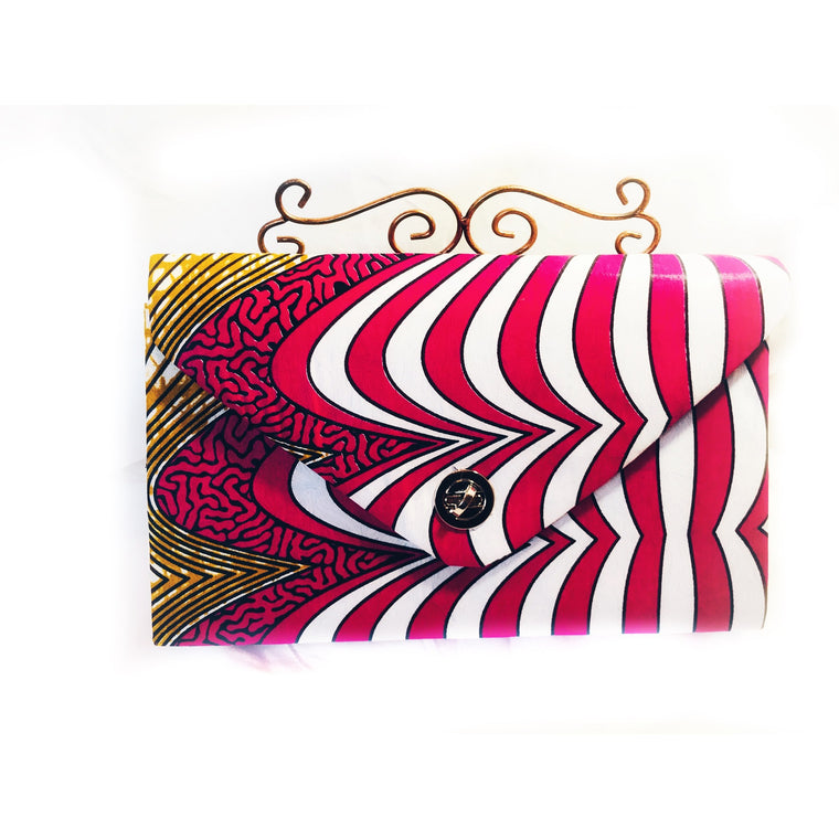 Designer Evening Clutch Bag Red And Blue African Ankara Fabric