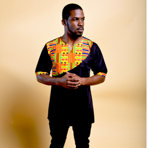 LUVKY AFRICAN KENTE PRINT MEN'S SHIRT - Zabba Designs African Clothing Store