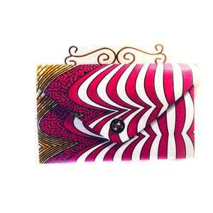 Designer Evening Clutch Bag Red And Blue African Ankara Fabric - Zabba Designs African Clothing Store