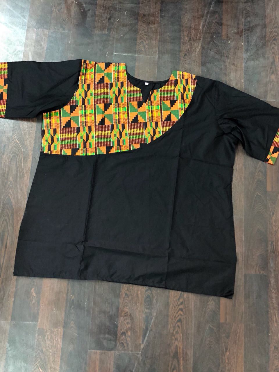 BLACK AFRICAN KENTE PRINT MEN'S SHIRT