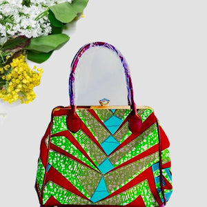 Elegant Modern African Print Decorated Fashion Handbag Emerald - Zabba Designs African Clothing Store