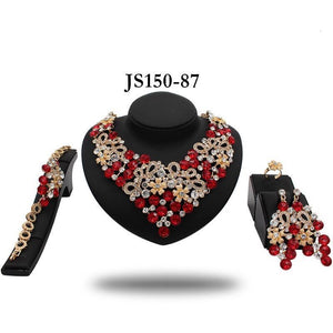 PEDI RED AFRICAN CRYSTAL STONE NECKLACE SET - Zabba Designs African Clothing Store