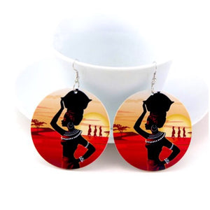 Strong African Woman Wood Earrings - Zabba Designs African Clothing Store