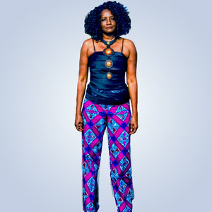 Seshe High Waisted African Print Wide Leg Pants - Zabba Designs African Clothing Store