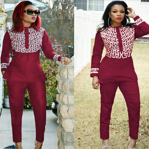 Jenny Red African Print Pants Set For Women - Zabba Designs African Clothing Store