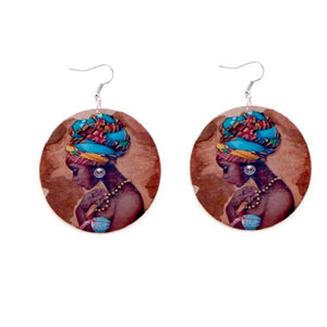 Blue African Fabric Cover Earrings - Zabba Designs African Clothing Store