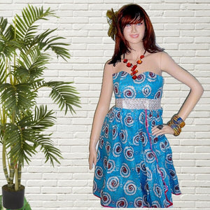 Vic Blue  And Gold African Print Midi Dress