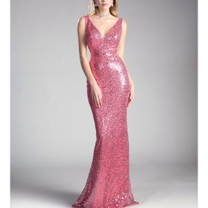 Pink Love African Sequin Sheath Dress