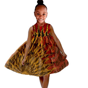 Leila African Ankara Print Girl Dress With Tulle - Zabba Designs African Clothing Store