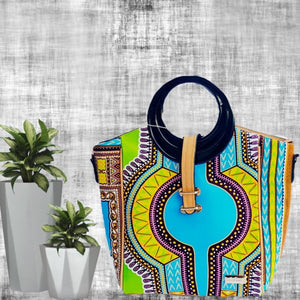 OJA Green African Print Tote  Bag - Zabba Designs African Clothing Store