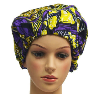 Purple And Yellow African Print Satin-Lined Hair Bonnet - Zabba Designs African Clothing Store