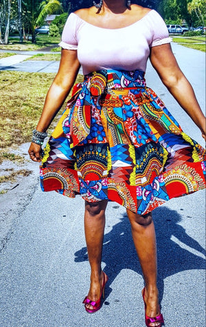 SUSU African Print Midi Skirt - Zabba Designs African Clothing Store