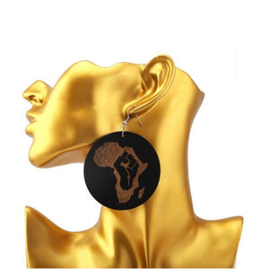 Black Power Map Of Africa Earrings - Zabba Designs African Clothing Store