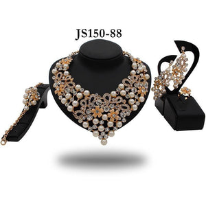 SHEEBA RHINESTONE PEARL COLLAR - Zabba Designs African Clothing Store
