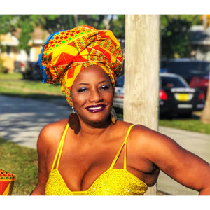 The Mademoiselle Kente African Print  HeadWrap - Zabba Designs African Clothing Store