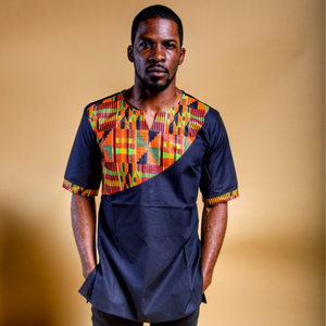 BLACK AFRICAN KENTE PRINT MEN'S SHIRT - Zabba Designs African Clothing Store