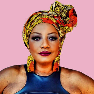 THE GRACE Orange Print Head Wrap