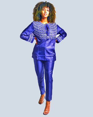 Ilibo African Print Woman Pants Set - Zabba Designs African Clothing Store