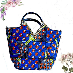 Jezz Blue African Print Satchel Bag - Zabba Designs African Clothing Store