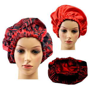 Red African Print Silk Hair Bonnet