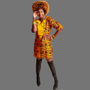Yaya Kente Print Shirt Dress - Zabba Designs African Clothing Store