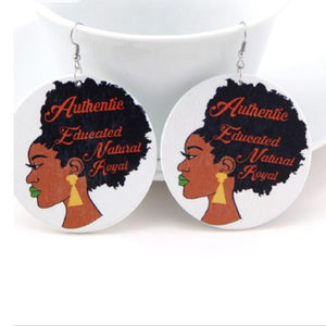 Educated And Royal Natural Hair Earrings - Zabba Designs African Clothing Store
