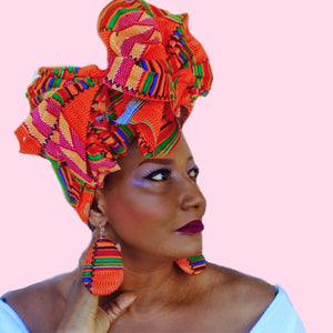 Baba Kente African Print HeadWrap - Zabba Designs African Clothing Store