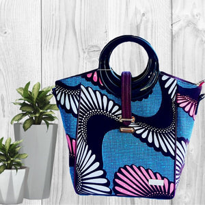 Cosmo African Print Top Handle Tote  Bag Blue - Zabba Designs African Clothing Store