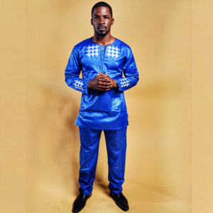 Afamefuna African Men Embroidery Suit - Zabba Designs African Clothing Store