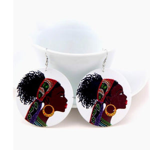 African Bandana Woman Wood  Earrings - Zabba Designs African Clothing Store