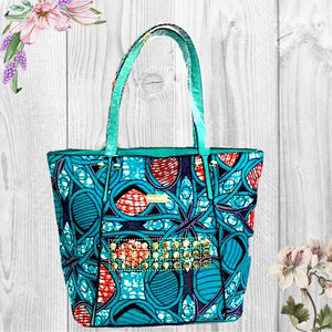 Yaw African Wax Print Top Handle Tote Bag Blue - Zabba Designs African Clothing Store