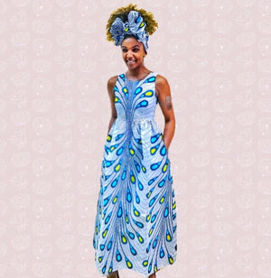 ZUMA African Print Maxi Dress - Zabba Designs African Clothing Store