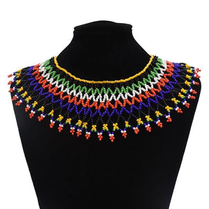 Red And Black Sparkle Maasai Beaded Collar Necklace - Zabba Designs African Clothing Store
