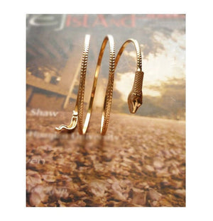 Fashion Punk Coiled Snake Spiral Upper Arm Cuff Bangle Bracelet Twisted Wire Bangles - Zabba Designs African Clothing Store