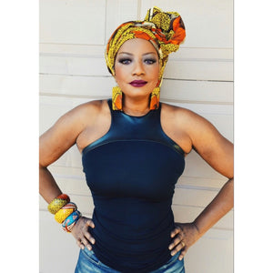 THE GRACE Orange Print Head Wrap - Zabba Designs African Clothing Store