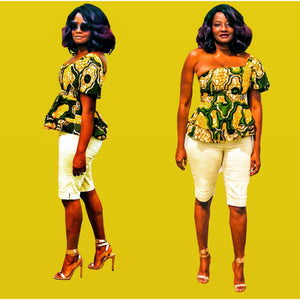 Bomi One Shoulder African Print Blouse - Zabba Designs African Clothing Store