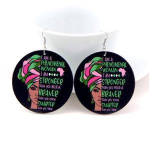 Pink And Green Phenomenal Woman Wood Earrings - Zabba Designs African Clothing Store