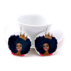 I Am Queen Tribal Wood Earrings - Zabba Designs African Clothing Store