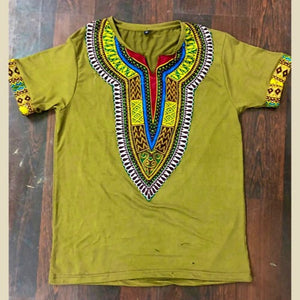 AVOCADO GREEN AFRICAN DASHIKI MEN'S SHIRT - Zabba Designs African Clothing Store
