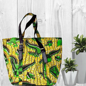 Green African Print Travel Tote  Bag - Zabba Designs African Clothing Store