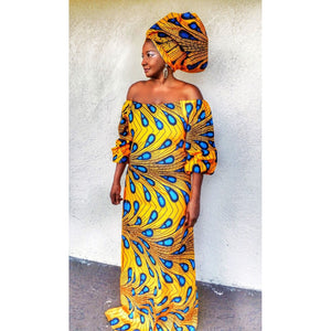 Zeke  Yellow African Print HeadWrap - Zabba Designs African Clothing Store