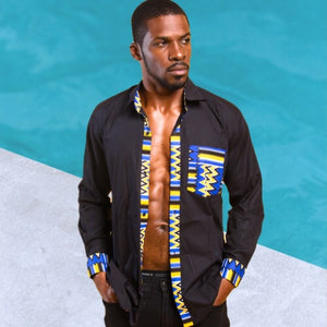 Ayoola African Long Sleeve Button Down Shirt - Zabba Designs African Clothing Store