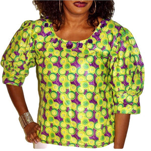Green and Purple African Boho Blouse - Zabba Designs African Clothing Store