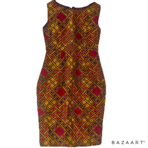 Josiee Brown And Red African Midi Dress - Zabba Designs African Clothing Store
