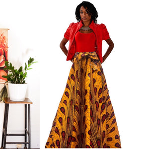 Egypt African Print Maxi Skirt - Zabba Designs African Clothing Store