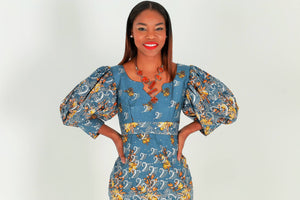 Yolo African Dress With Gray And Silver Print - Zabba Designs African Clothing Store
