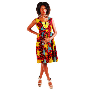 Mattie African inspired Yellow Midi Dress