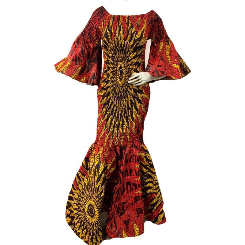 Angie Red African Print Maxi Dress