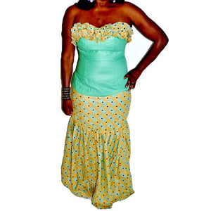 Yezzi Ankara and Wooden Two Piece Maxi Dress - Zabba Designs African Clothing Store